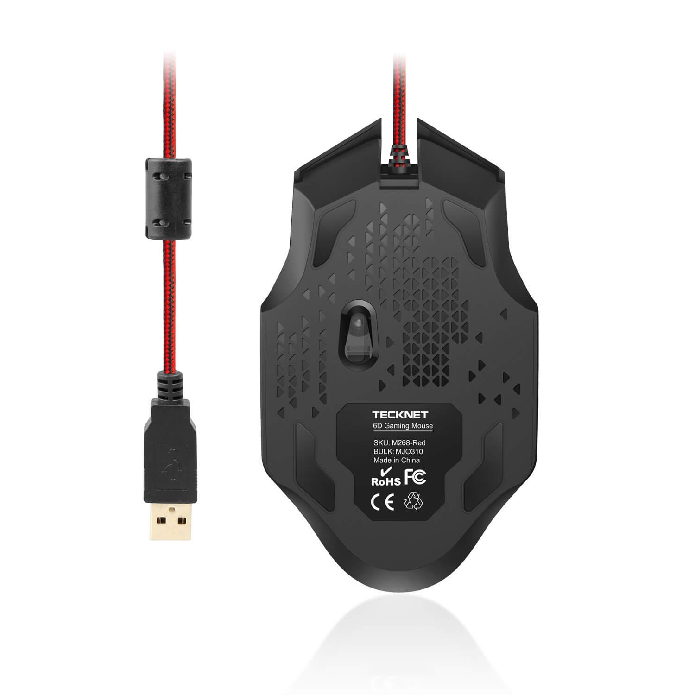 TeckNet M268 Raptor Gaming Mouse, 2000 DPI — геймърска мишка (за Mac и PC) (черен-червен) - 4