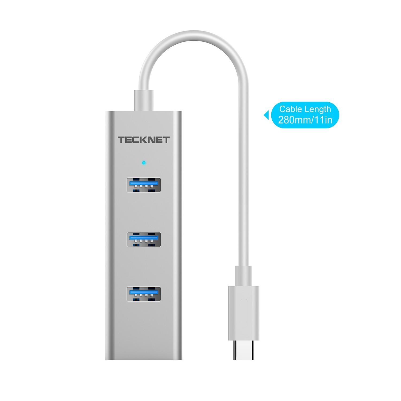 TeckNet TA301 Type-C 3-Port USB 3.0 Hub with Ethernet Adapter — алуминиев USB-C хъб с 3xUSB изхода и Ethernet порт - 2