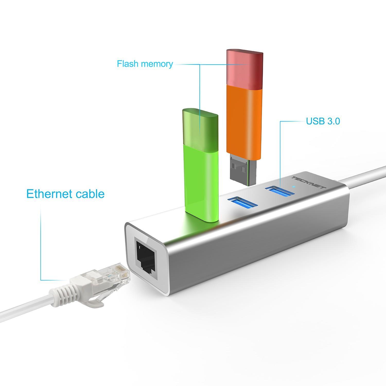 TeckNet TA301 Type-C 3-Port USB 3.0 Hub with Ethernet Adapter — алуминиев USB-C хъб с 3xUSB изхода и Ethernet порт - 3