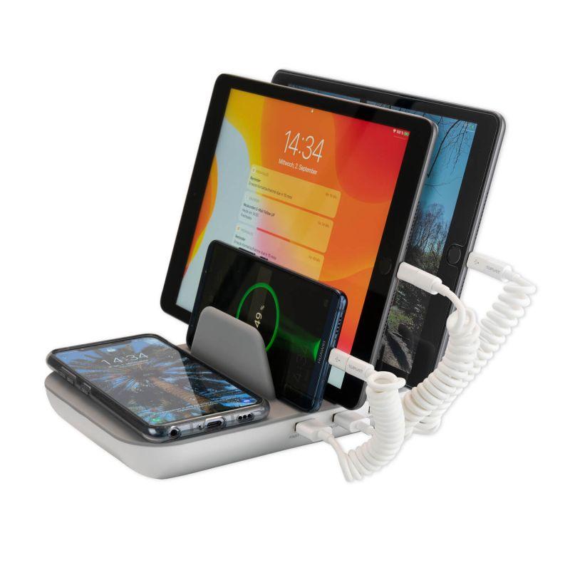 4smarts Inductive Charger Family Pro 50W and 3 Charging Cables - док станция с безжично зареждане, 3xUSB и 1xUSB-C изходи и три кабела за зареждане на мобилни устройства