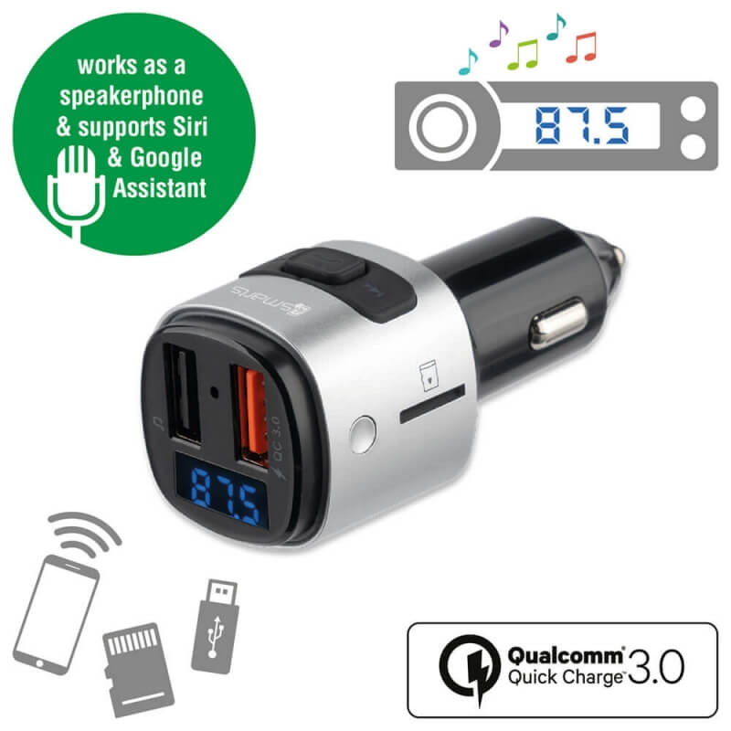 4smarts Media Assist Car Charger with FM Transmitter and Media-In