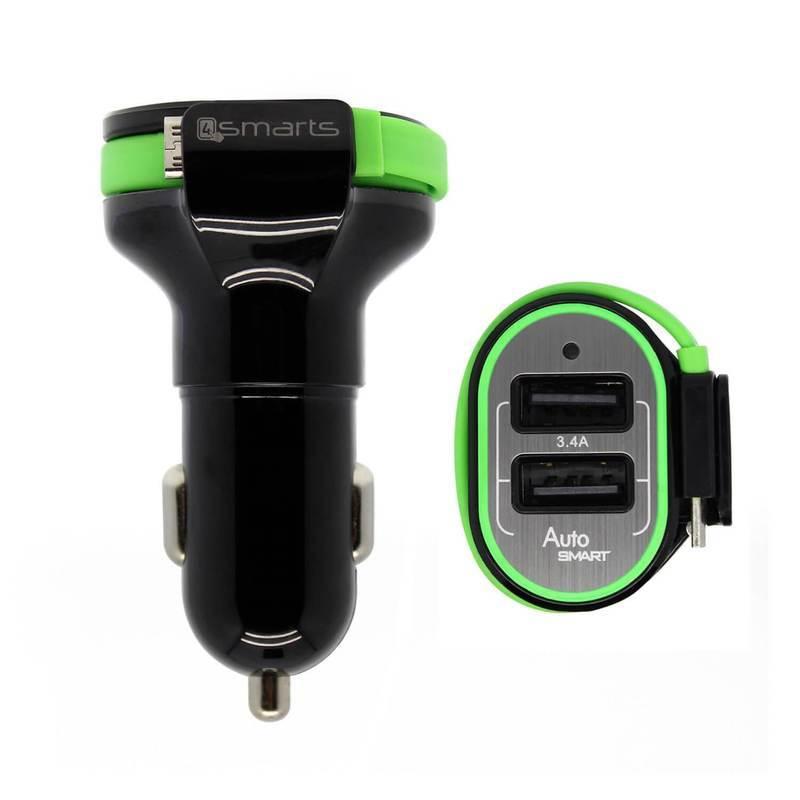4smarts MultiPort Dual USB & Micro USB Car Charger 3.4A