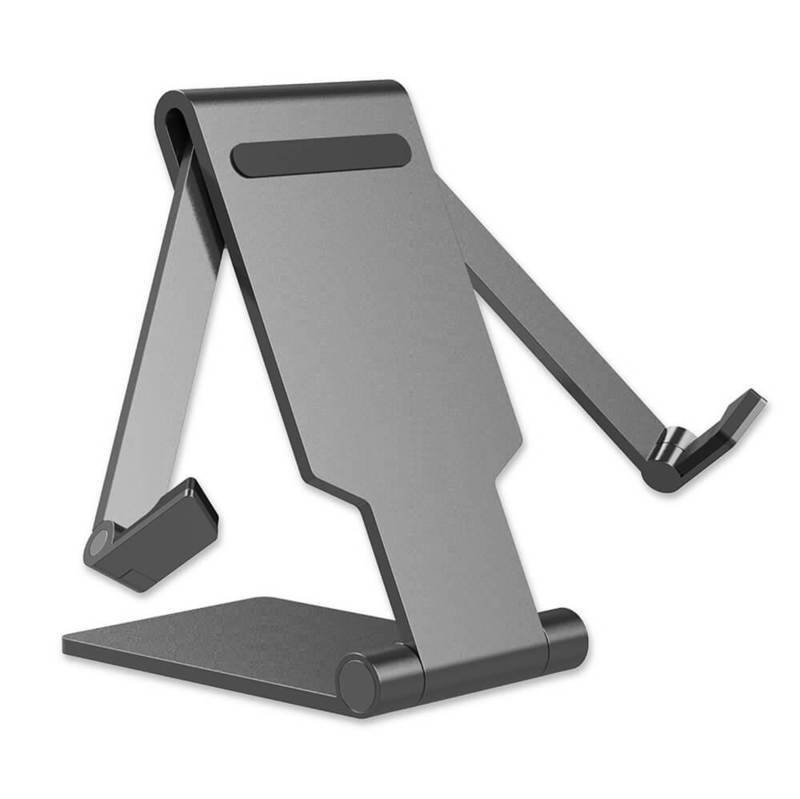 4smarts Universal Desk Stand FOLD for Smartphones and Tablets - сгъваема алуминиева поставка за смартфони и таблети до 13 инча (сив)