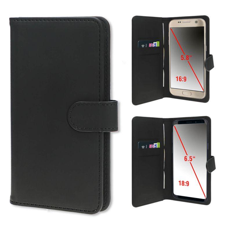 4smarts Universal Flip Case UltiMAG URBAN Lite XL - кожен калъф с поставка и отделение за кр. карта за смартфона до 6.5 инча (черен)