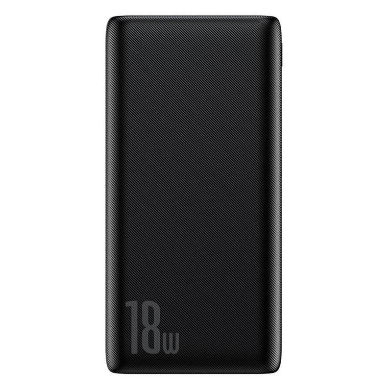 Baseus 18W Power Bank PD+QC 10000mAh - външна батерия 18W с USB и USB-C изходи и с технология за бързо зареждане (черен)