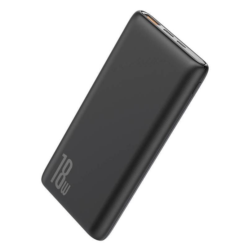 Baseus Bipow 18W Power Bank PD+QC 10000mAh - външна батерия 18W с USB и USB-C изходи и с технология за бързо зареждане (черен)