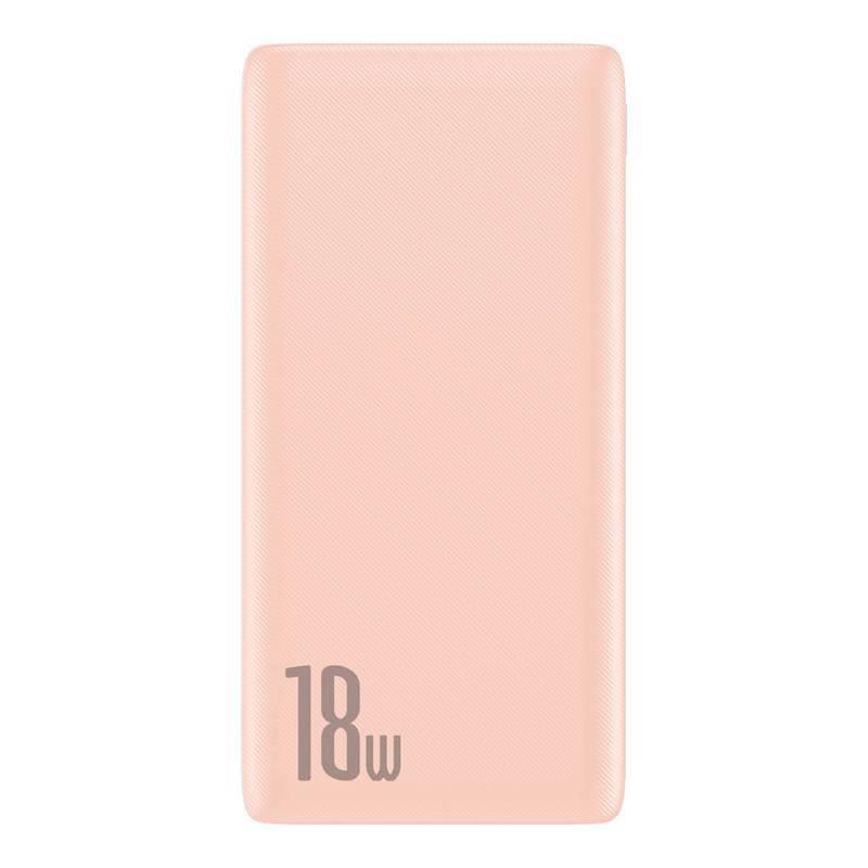 Baseus Bipow 18W Power Bank PD+QC 10000mAh - външна батерия 18W с USB и USB-C изходи и с технология за бързо зареждане (розов)