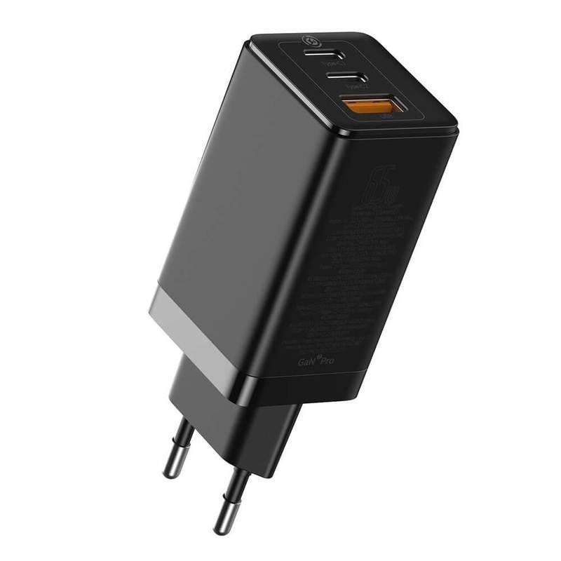 Baseus GaN 2 Pro Charger 65W (CCGAN2P-E02) - захранване за ел. мрежа за лаптопи, смартфони и таблети с USB и 2xUSB-C изходи с технология за бързо зареждане и USB-C кабел (черен)