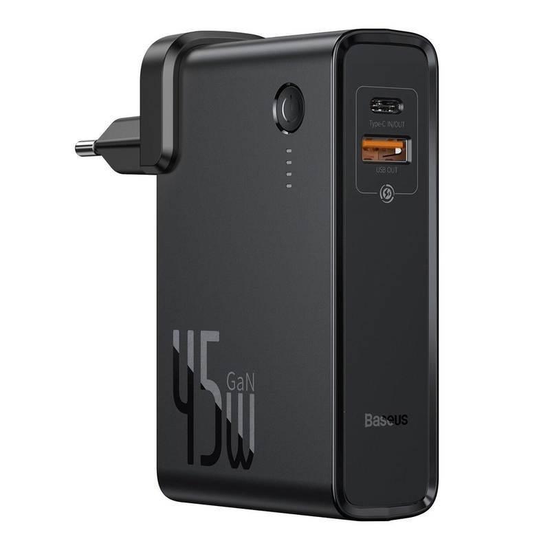 Baseus GaN Charger 45W Power Bank (PPNLD-C01) - външна батерия 10000 mAh и захранване за ел. мрежа с USB и USB-C изходи и GaN технология (черен)