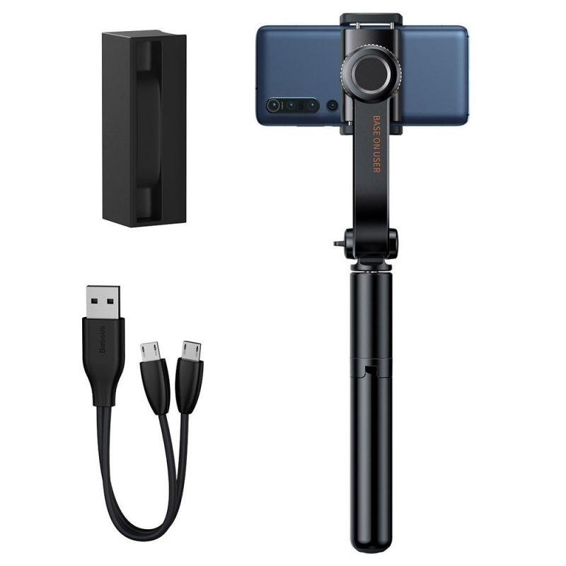 Baseus Lovely Uniaxial Bluetooth Folding Stand Gimbal Tripod Selfie Stick - разтегаем безжичен селфи стик със стабилизатор и трипод за мобилни телефони (черен)