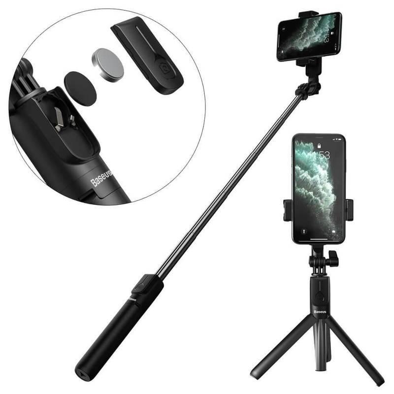 Baseus Lovely Wireless Bracket Bluetooth Tripod Selfie Stick - разтегаем безжичен селфи стик и трипод за мобилни телефони (черен)