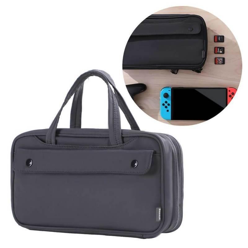Baseus Nintendo Switch Storage Bag (LBGD-A0G) - чанта за съхранение и пренасяне на Nintendo Switch (тъмносив)