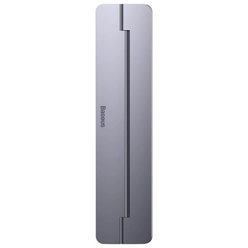 Baseus Papery Self-Adhesive Aluminum Laptop Stand - сгъавема, залепяща се към вашия компютър поставка за MacBook и лаптопи (тъмносив)