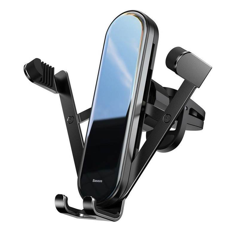 Baseus Penguin Gravity Car Vent Mount - поставка за радиатора на кола за смартфони с дисплеи до 6.5 инча (черна)