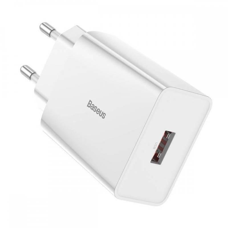 Baseus Speed Mini USB-A QC Wall Charger 18W (CCFS-W02) - захранване за ел. мрежа с USB-A изход с технология за бързо зареждане (бял)