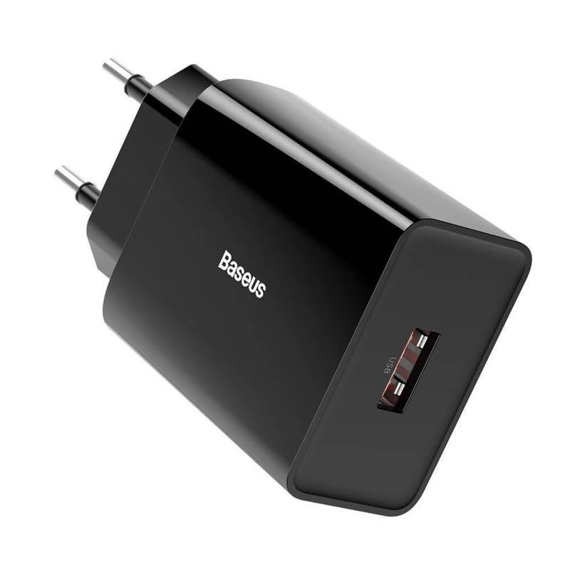 Baseus Speed Mini USB-A QC Wall Charger 18W (CCFS-W02) - захранване за ел. мрежа с USB-A изход с технология за бързо зареждане (черен)