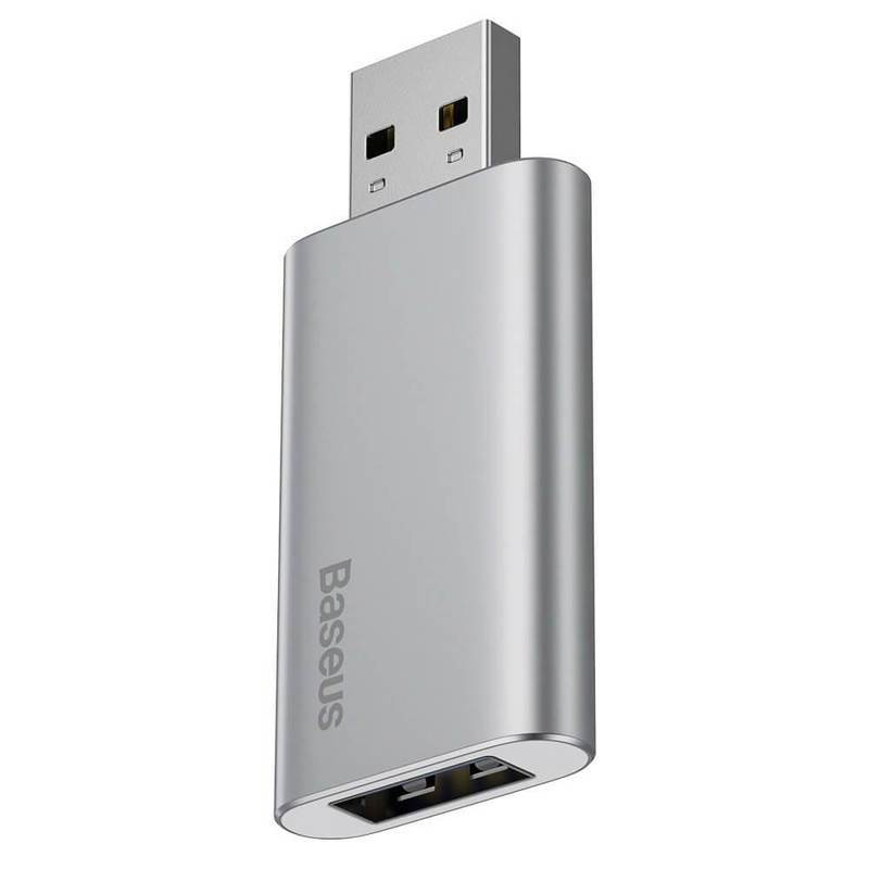 Baseus Travel Memory Stick 32GB (ACUP-B0S) - USB флаш памет с 32GB капацитет и допълнителен USB-A порт за зареждане на мобилни устройства (сребрист)