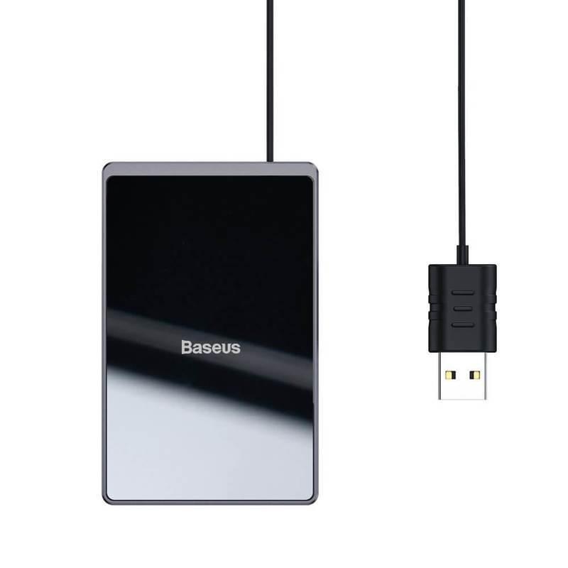 Baseus Ultra-thin Wireless Charger Pad 15W with USB Cable - 15W поставка (пад) с технология за бързо зареждане за Qi съвместими устройства и USB кабел (100 см) (черен)