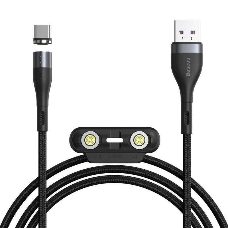Baseus Zinc Magnetic Safe Fast Charging Data Cable (CA1T3-BG1) - кабел с магнитни конектори за Apple продукти с Lightning, microUSB и USB-C (100 см) (черен)
