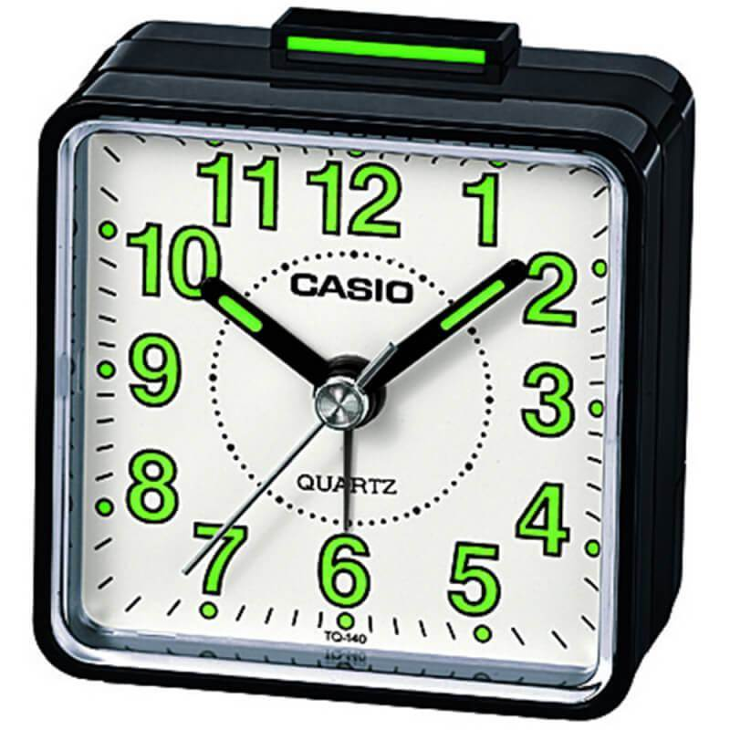 Casio TQ-140-1BEF Beep Alarm Clock - часовник с будилник (черен-бял)