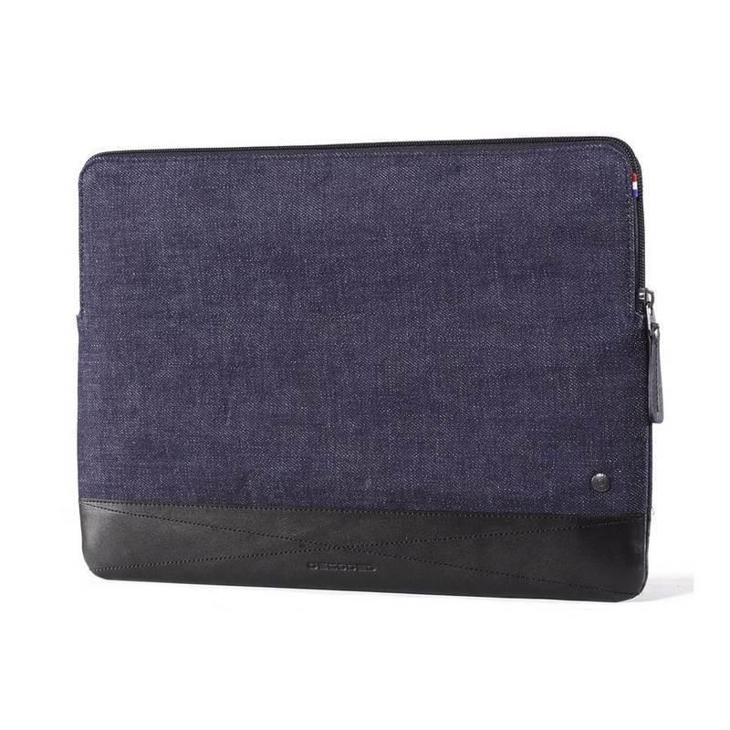 Decoded Denim Slim Sleeve - качествен (естествен кожа + японски деним) калъф за MacBook Pro 16, Pro 15 и лаптопи до 16 инча (тъмносин)