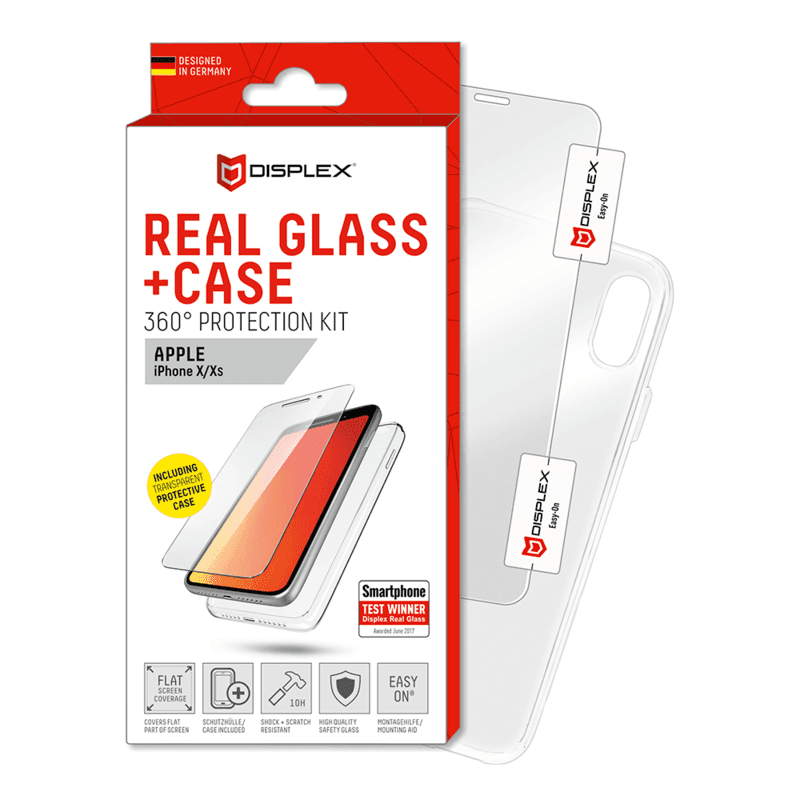 Displex Real Glass 10H Protector 2D with TPU Case