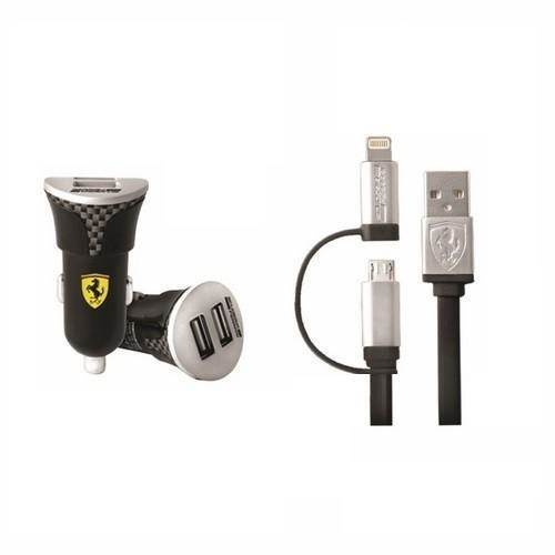 Ferrari Car Charge (2.1A) with Lightning MFI and MicroUSB cable