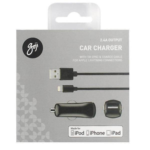 Goji Car Charger 2.4A with Lightning Cable