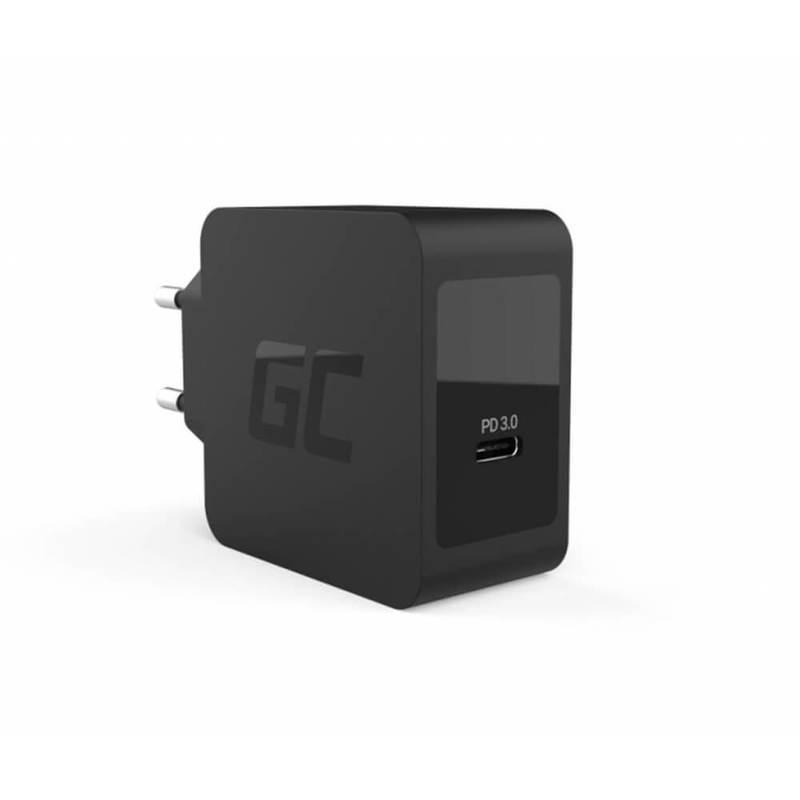 Green Cell Charger USB-C 18W PD - захранване за ел. мрежа с USB-C изход за смартфони и мобилни устройства (черен)