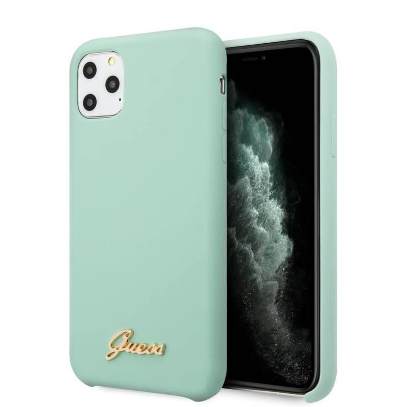Guess Hard Silicone Case - силиконов (TPU) калъф за iPhone 11 Pro (светлозелен)