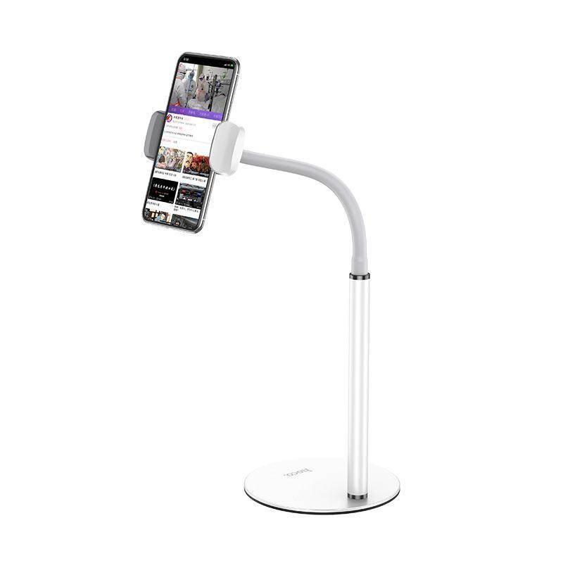 Hoco PH28 Metal Desktop Stand - универсална поставка за бюро и плоскости за мобилни устройства и таблети с ширина до 7 инча (бял)