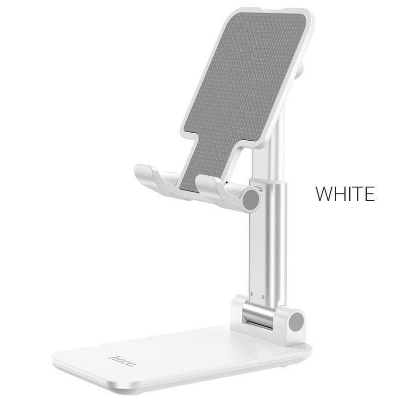 Hoco PH29A Carry Folding Desktop Stand - сгъваема поставка за бюро и плоскости за мобилни устройства и таблети с ширина до 10 инча (бял)