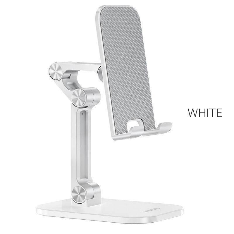 Hoco PH34 Folding Desktop Stand - сгъваема поставка за бюро и плоскости за мобилни устройства и таблети с ширина до 13 инча (бял)