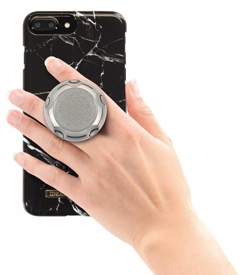 Jumpop Glamour Silver Sparks Smartphone-Fingerholder  - поставка и аксесоар против изпускане на вашия смартфон (сребрист-гланц)