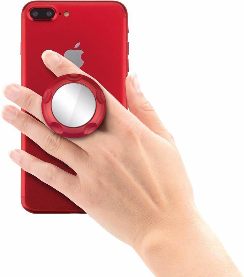 Jumpop Smartphone-Fingerholder - поставка и аксесоар против изпускане с огледало на вашия смартфон (червен-мат)