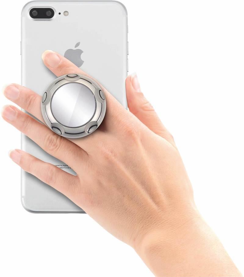 Jumpop Smartphone-Fingerholder - поставка и аксесоар против изпускане с огледало на вашия смартфон (сив-гланц)