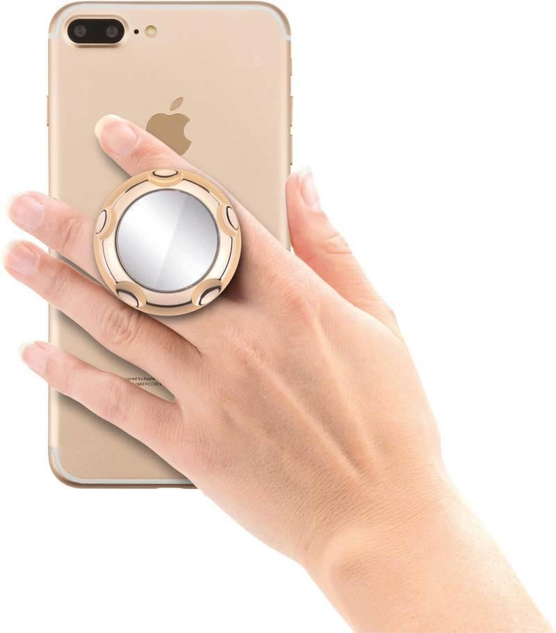 Jumpop Smartphone-Fingerholder - поставка и аксесоар против изпускане с огледало на вашия смартфон (златист-гланц)