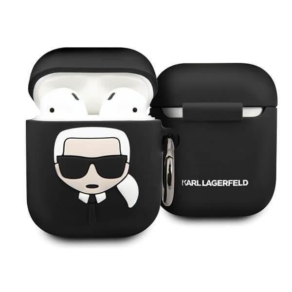 Karl Lagerfeld Airpods Ikonik Silicone Case - силиконов калъф с карабинер за Apple Airpods и Apple Airpods 2 (черен)