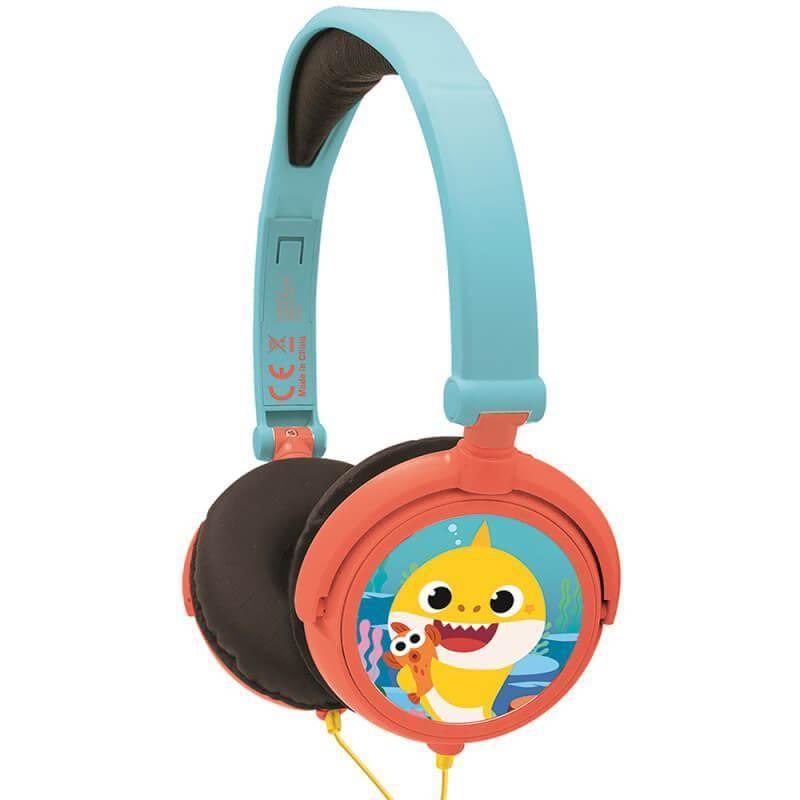 Lexibook Baby Shark Foldable Stereo Headphones- слушалки подходящи за деца (светлосин-червен)