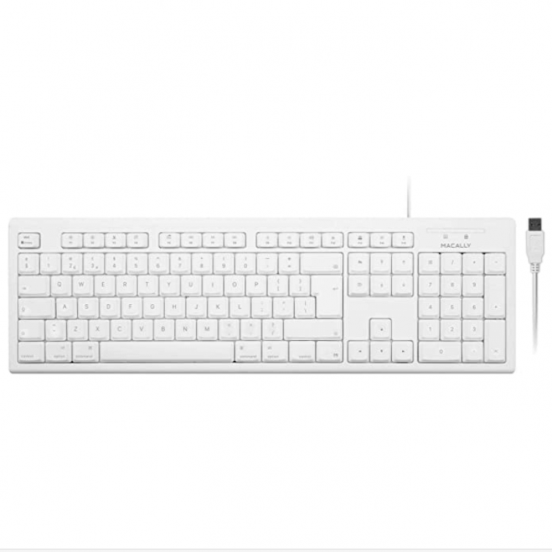 Macally 105 Key Extended Keyboard With Numpad - USB клавиатура оптимизирана за MacBook (бял)