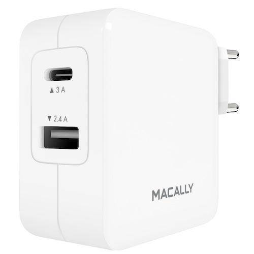 Macally 24W USB-C/USB-A Wall Charger