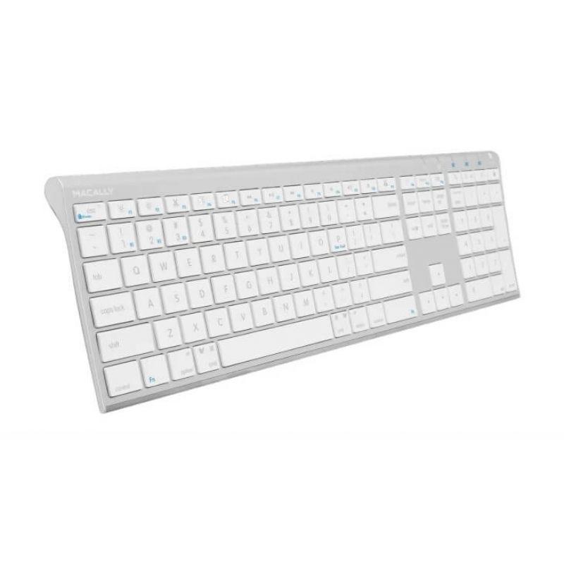 Macally Aluminum Quick Switch Bluetooth Keyboard - безжична Bluetooth клавиатура за компютри, таблети и устройства с Bluetooth (бял)