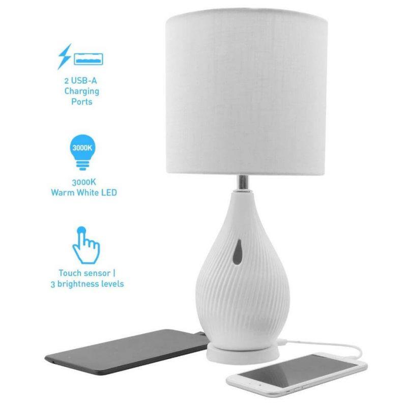 Macally Ceramic LED Table Lamp - настолна LED лампа с 2 х USB-A изхода за зареждане на мобилни устройства (бял)