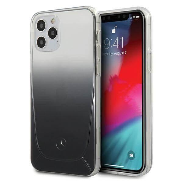 Mercedes TPU Transparent Line Case - силиконов (TPU) удароустойчив калъф за iPhone 12 Pro Max (черен)