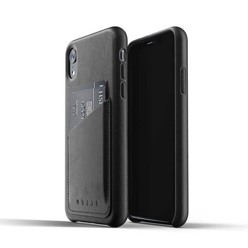 Mujjo Full Leather Wallet Case- кожен (естествена кожа) кейс с джоб за кредитна карта за iPhone XR (черен)