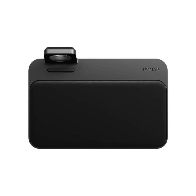 Nomad Base Station v2 Hub with Apple Watch Charger Mount - двойна поставка (пад) с до 10W безжично захранване за зареждане на мобилни устройства и зареждане на Apple Watch и Apple Airpods (черен)