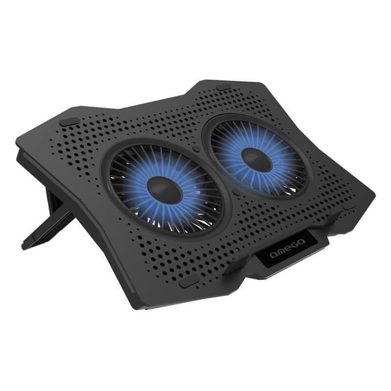 Omega Laptop Cooler Pad 2 Fans - охлаждаща ергономична поставка с 2 вентилаторa за Mac и преносими компютри (черен)