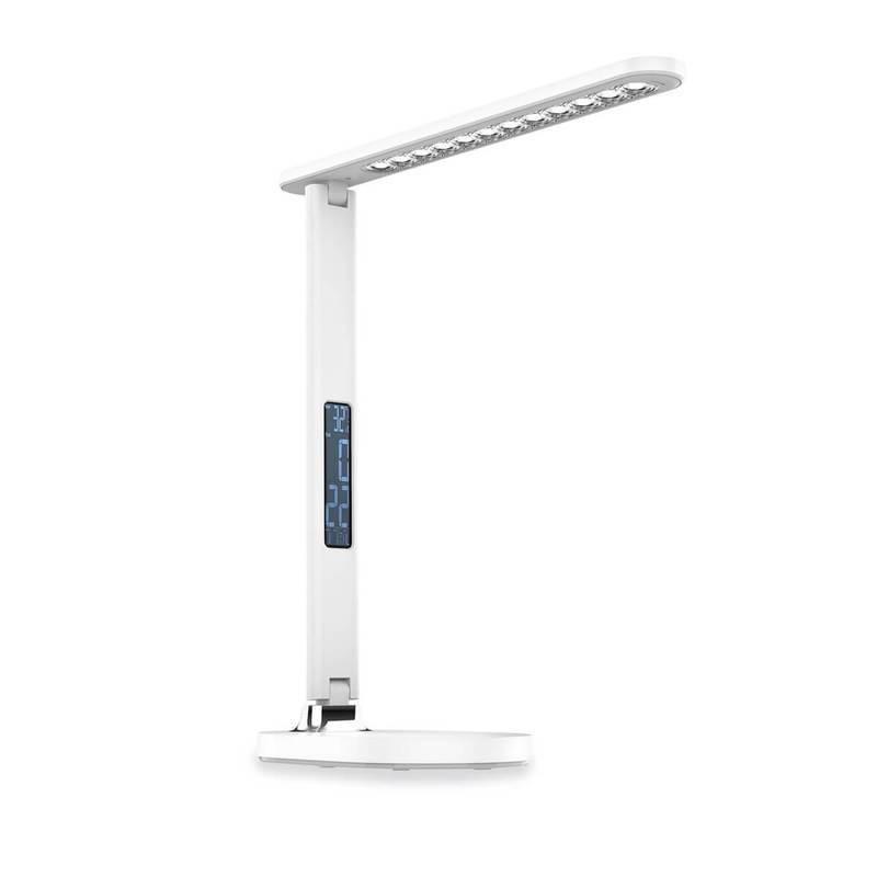 Platinet Desk Lamp Clock Calendar Display 13W - настолна LED лампа с алармен часовник (бял)
