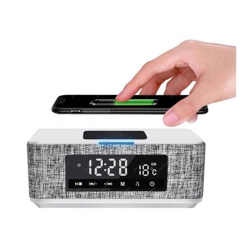 Platinet Speaker Daily Bluetooth, QI, FM And Clock - безжичен портативен спийкър с FM радио, часовник с аларма и поставка за безжично зареждане (бял)