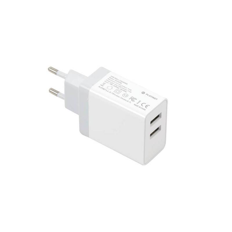 Platinet Wall Charger 2 x USB 3.4A + microUSB cable 1m